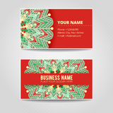 Business card template. Mandala with many details. Snowflake for logo design, textile, fabric, identity, christmas background, brochure, greeting, invitation stock illustration