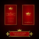 Business card template in royal red and gold style Stock Images