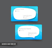 Business Card template set 51 blue and speech bouble element for Stock Image