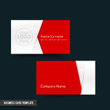 Business Card template set 64 red and white basic geometry eleme. Business Card template set red and white basic geometry element illustration eps10 stock illustration