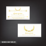Business Card template set  043 Vintage Clear design with gold w. Business Card template set Vintage style with golden wreaths elementvector illustration Royalty Free Stock Image