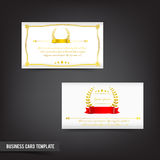 Business Card template set  044 Vintage Clear design with gold w Royalty Free Stock Images