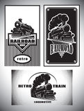 Business card template set. Vintage steam train, old retro railroad Royalty Free Stock Photography