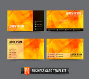Business Card template set  019 Yellow and Orange polygonal back Stock Images