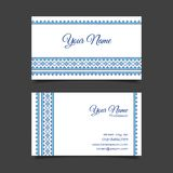 Business card template with stylish cross-stitch Stock Image