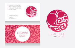 Business card template and template for your logo. Beautiful vignette design, vector illustration royalty free illustration