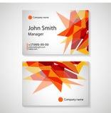 Business card template vector illustration, Orange polygon background,flyer design, name card template,vector illustration Royalty Free Stock Photos