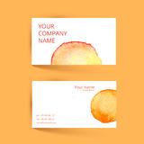Business card template. Vector watercolor orange Royalty Free Stock Photography