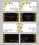 Business card template or visiting card set with golden foil heart shape design. Royalty Free Stock Photos