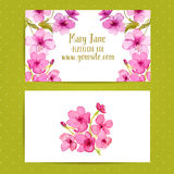 Business card template with watercolor flowers of Royalty Free Stock Photography