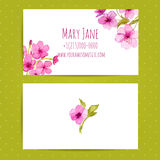 Business card template with watercolor flowers of Royalty Free Stock Photos