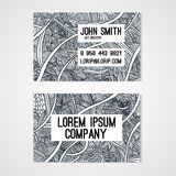 Business card template whit  hand-drawn waves. Stock Images