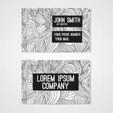 Business card template whit  hand-drawn waves. Royalty Free Stock Photo