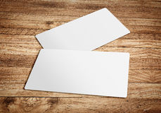 Business card template on wooden board table,template for brandi. Ng identity stock photography