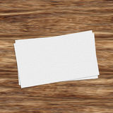 Business card template on wooden table Stock Image