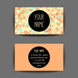Business card template. Yellow sunny summer Business card template with creative geometric pattern royalty free illustration