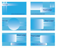 Business card templates. A collection of six corporate business card templates with blue designs Royalty Free Stock Photo