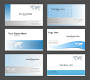 Business card templates. Six corporate business card templates white, blue and grey tint with world map theme Royalty Free Stock Photo