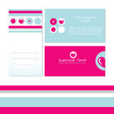Business card templates. Bright and colourful business card templates in pink and blue with hearts and stripes Royalty Free Stock Photography