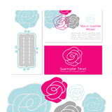 Business card templates. Modern floral business card templates in pink, gray and blue with copy-space Royalty Free Stock Photos