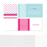 Business card templates. A set of business card templates in pink, blue and white with spots, stripes and zigzags Stock Photo