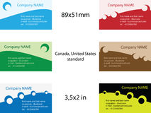Business card templates. 6 sets of business card templates. Eps8, vector, easy resizing or change colors Stock Photography