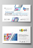 Business card templates. Abstract vector design layouts. Bright color lines and dots, colorful minimalist backdrop with Stock Photography