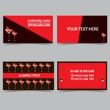 Business card templates with a cocktail glass. Stationery design vector set vector illustration