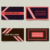 Business card templates. Color dark brown with pink, with stripes and stars stock illustration