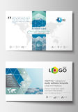 Business card templates. Cover design template, easy editable blank, abstract blue flat layout, vector illustration. Royalty Free Stock Images