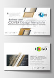 Business card templates. Cover design template, easy editable blank, abstract flat layout. Golden technology background Royalty Free Stock Photos