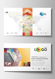 Business card templates. Cover design template, easy editable blank, flat layout. Abstract colorful triangle  vector Stock Images