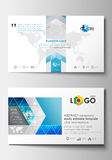 Business card templates. Cover design template, easy editable blank, flat layout. Abstract triangles, blue and gray Royalty Free Stock Photos