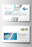 Business card templates. Cover design template, easy editable blank, flat layout. Abstract triangles, blue and gray Royalty Free Stock Image