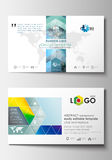 Business card templates. Cover design template, easy editable blank, flat layout. Abstract triangles, blue triangular Stock Photo