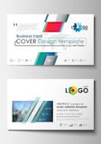 Business card templates. Cover design template, easy editable blank, flat layout. Abstract triangles, blue triangular Royalty Free Stock Image