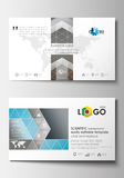 Business card templates. Cover template, easy editable blank, abstract flat layout. Scientific medical research Royalty Free Stock Photo