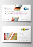 Business card templates. Cover template, easy editable blank, flat layout. Abstract colorful triangle design vector. Business card templates. Cover design stock illustration