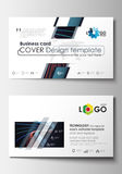 Business card templates. Cover template, easy editable blank, flat layout. Abstract lines background with color glowing Stock Images