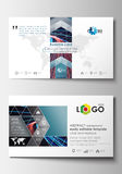 Business card templates. Cover template, easy editable blank, flat layout. Abstract lines background with color glowing Royalty Free Stock Photography