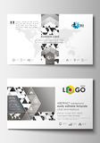 Business card templates. Cover template, easy editable blank, flat layout. Abstract triangle design background, modern Stock Images