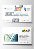 Business card templates. Cover template, easy editable vector, flat style layout. Colorful background with abstract Royalty Free Stock Photo
