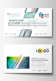 Business card templates. Cover template, easy editable vector, flat style layout. Colorful design background with Royalty Free Stock Images
