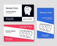 Business card templates for dental clinics. Three business card templates for dental clinics with illustration of tooht in black, red and blue colours Royalty Free Stock Image