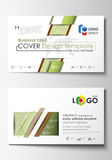 Business card templates. Easy editable layout, abstract flat design vector template. Green color background with leaves Royalty Free Stock Photography