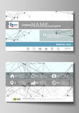 Business card templates. Easy editable layout, abstract vector design template. Chemistry pattern, connecting lines and Royalty Free Stock Photography