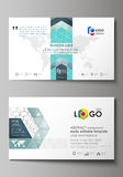 Business card templates. Easy editable layout, abstract vector design template. Chemistry pattern, hexagonal molecule Royalty Free Stock Photos