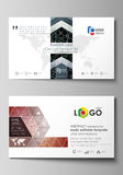 Business card templates. Easy editable layout, abstract vector design template. Chemistry pattern, molecular texture Stock Photos