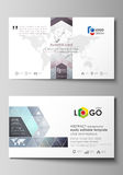Business card templates. Easy editable layout, abstract vector design template. Compounds lines and dots. Big data Royalty Free Stock Photos