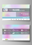 Business card templates. Easy editable layout, abstract vector design template. Hologram, background in pastel colors. With holographic effect. Blurred colorful royalty free illustration